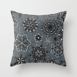 mandala snowflakes metal Throw Pillow