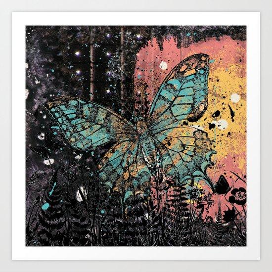 Butterfly Grunge Art Print
