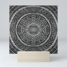 Zentangle Mandala Black and White Mini Art Print