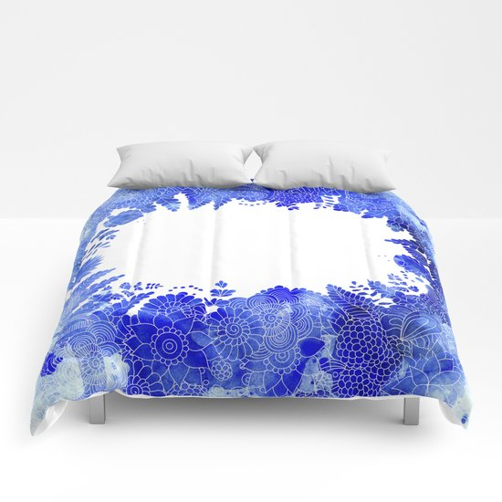 Blue Floral Pattern 04 Comforters