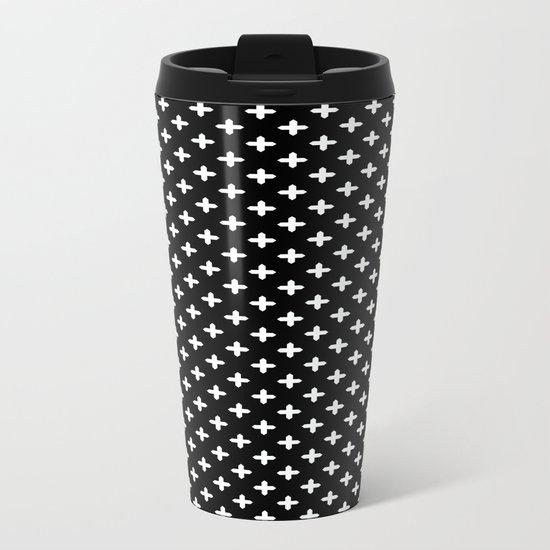 Simple Scandinavian black and white pattern . Metal Travel Mug