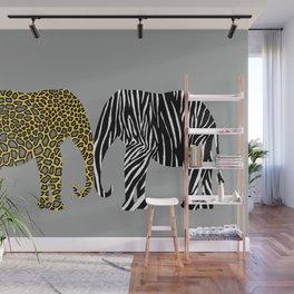 Elephants in Animal Prints Wall Mural