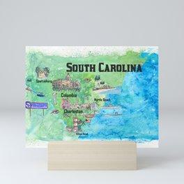 USA South Carolina State Travel Poster Map with Tourist Highlights Mini Art Print