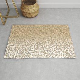 Trendy Gold Glitter and Leopard Print Gradient Design Rug