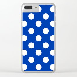 UA blue - blue - White Polka Dots - Pois Pattern Clear iPhone Case