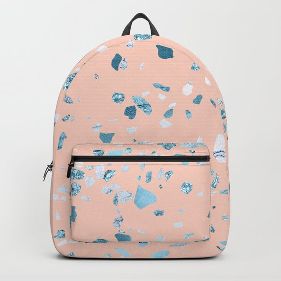 Turquoise Shimmery Terrazzo on Pink Backpack