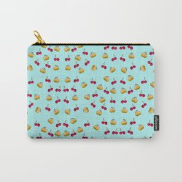 cherries and plums on a blue background Carry-All Pouch
