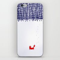 white iPhone & iPod Skins featuring Alone in the forest by Robert Farkas