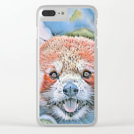 Watercolors-Red Panda Clear iPhone Case