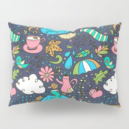 Hand draw autumn doodle pattern. Pillow Sham