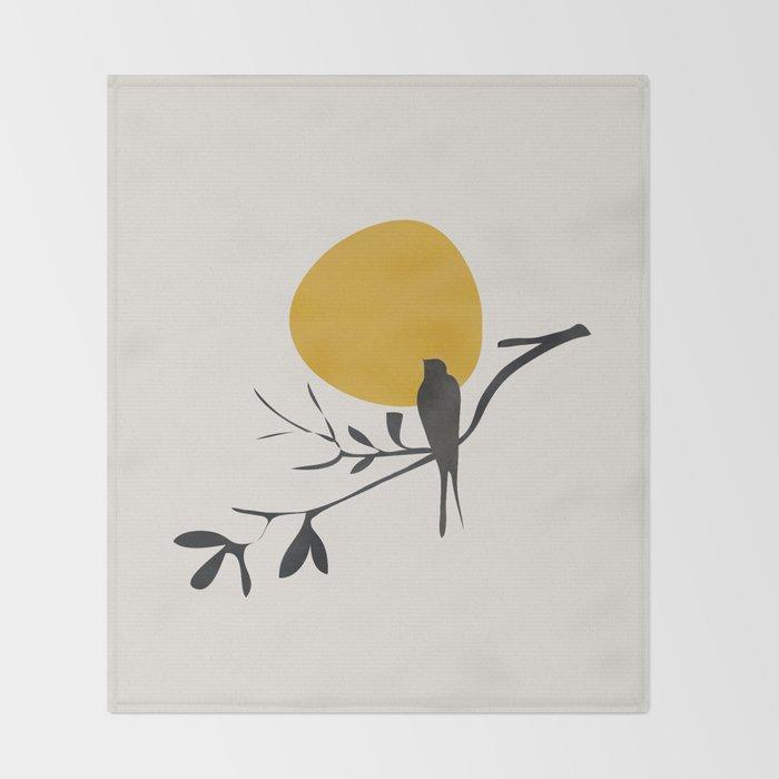 Bird and the Setting Sun Throw Blanket