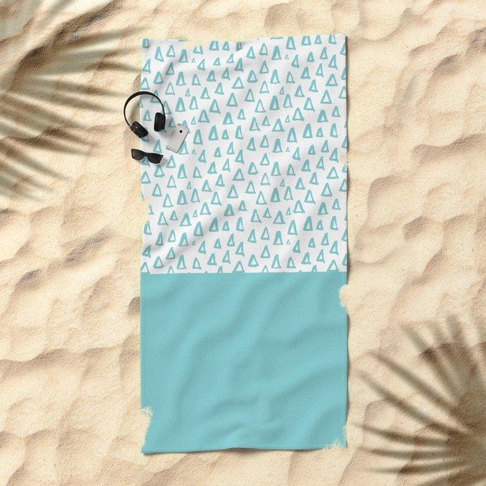 Triangles Mint Beach Towel