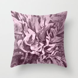 Sepia Pink Painted Peony Throw Pillow