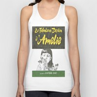 amelie Tank Tops featuring AMELIE hand drawn movie poster in pencil by The Exiled Elite