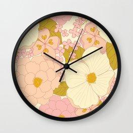 Pink Pastel Vintage Floral Pattern Wall Clock