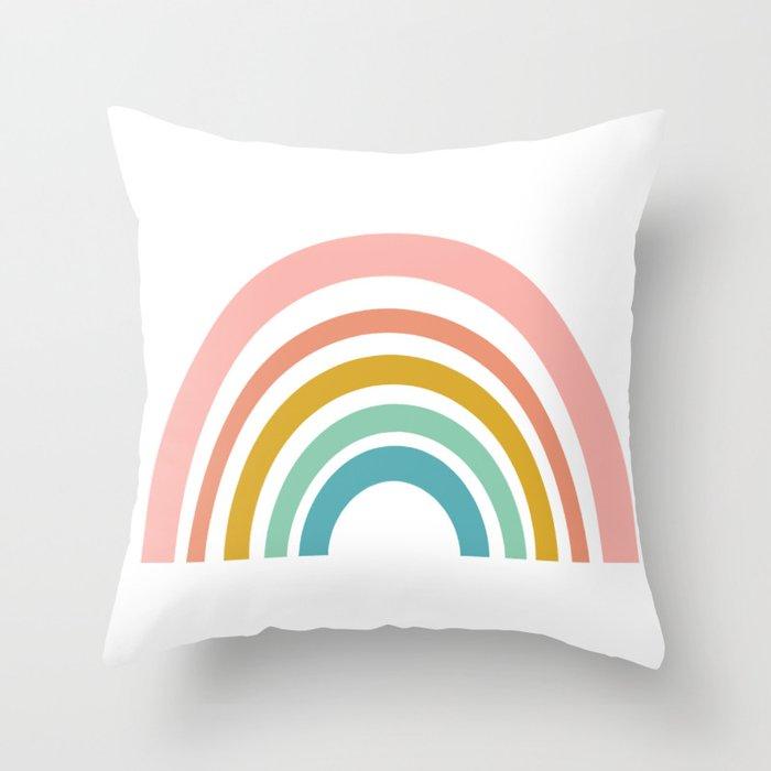 Simple Happy Rainbow Art Throw Pillow
