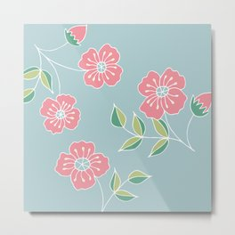 Pink floral placement on blue Metal Print