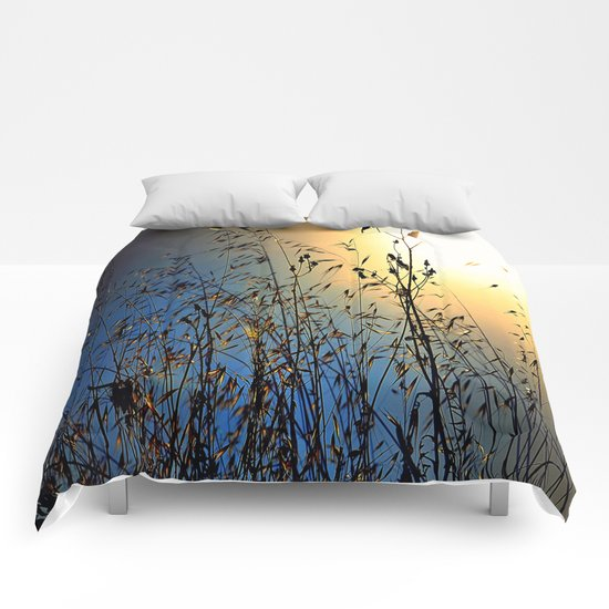 grass at sunset Comforters