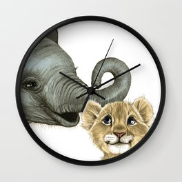 Elephant Calf and Lion Cub Wall Clock