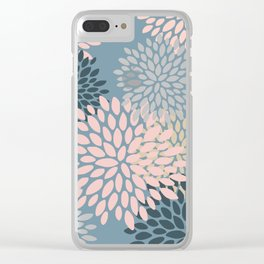 Blooming Floral Abstract Pattern, Pink, Blue and White Clear iPhone Case