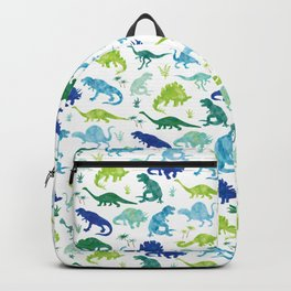 Watercolor Dinosaur Pattern White Green Blue Backpack