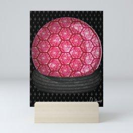 Hex Abstract Geometric Pattern ~ Chaos Red Mini Art Print