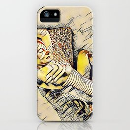 4248s-JG Beautiful Jessica Striped Nude Erotica in the Style of Kandinsky iPhone Case