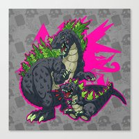kaiju Canvas Prints featuring Kaiju Senior Kaiju Junior by firestarterdesign