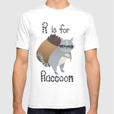 R is for Raccoon Mens Fitted Tee MEDIUM White