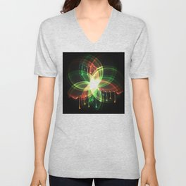 Colorful and shiny flower artwork with paint Unisex V-Neck