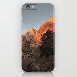 Towering Mountains | Trees | Clear Sky | Vertical Landscape Photography | Road iPhone Case