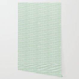 Elegant Stripes Pastel Cactus Green and White Wallpaper