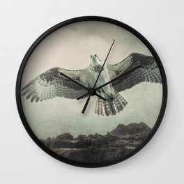 Osprey Over The Ocen Wall Clock