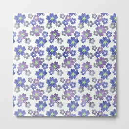 Floral blue and white pattern . Metal Print