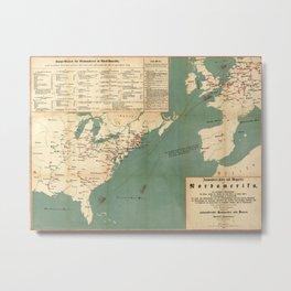 Vintage German US Immigration Map (1853) Metal Print