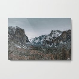 Snow at Yosemite's Tunnel View Metal Print