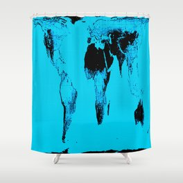 World Map : Gall Peters Blue Shower Curtain