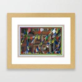 BOUDHANATH HOUSES AND FLAGS KATHMANDU NEPAL Framed Art Print