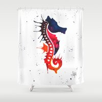 seahorse Shower Curtains featuring seahorse by Armyhu