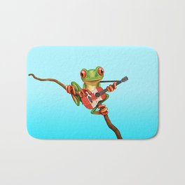 Tree Frog Playing Acoustic Guitar with Flag of Canada Bath Mat