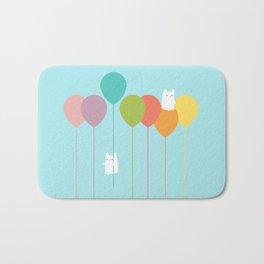 Fluffy bunnies and the rainbow balloons Bath Mat