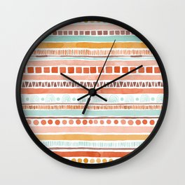 Boho Stripes - Watercolour pattern in rusts, turquoise & mustard. Nursery print Wall Clock