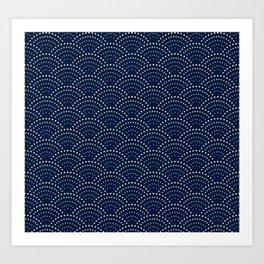 Japanese Blue Wave Seigaiha Indigo Super Moon Pattern Art Print