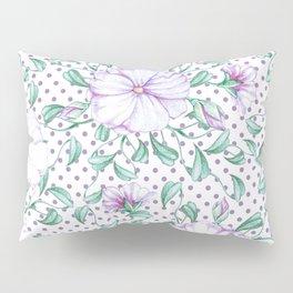 Modern botanical hand painted lilac green floral polka dots Pillow Sham