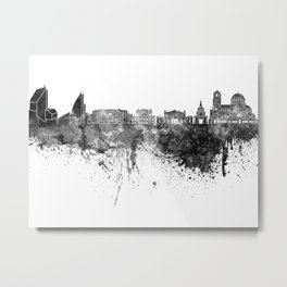 Sofia skyline in black watercolor on white background Metal Print