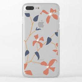 Floral Clematis Vine - Indigo Sunset Clear iPhone Case