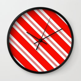 Candy Cane Stripes Holiday Pattern Wall Clock