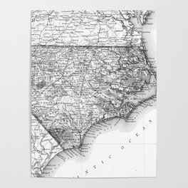 Vintage Map of North Carolina (1859) BW Poster