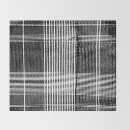 Stitched Plaid in Black and White Throw Blanket