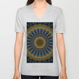 Mandala in golden and blue tones Unisex V-Neck